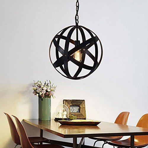 Wrought Iron Ceiling Lighting - JINGUO Lighting Industrial Metal Cage Ceiling Light Semi Flush Mounted Pendant Lighting Wrought Iron Globe Hanging Lamp in Black for for Kitchen Restaurant Cafe Bar Living Room Garage