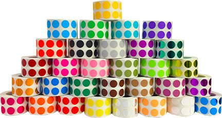 31 Colors of Round Color Coding Labels | Half Inch Round Inventory Dot Stickers | 1,000 Per Color - 31,000 Total