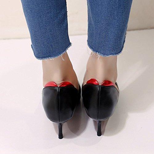 AJUNR Luz salvaje el de Negra de Zapatos Shoes alto sugerencia de mujer Transpirable 39 elegante Sandalias Heel 6cm y lugar único trabajo zapatos 39 Moda rqw4ar