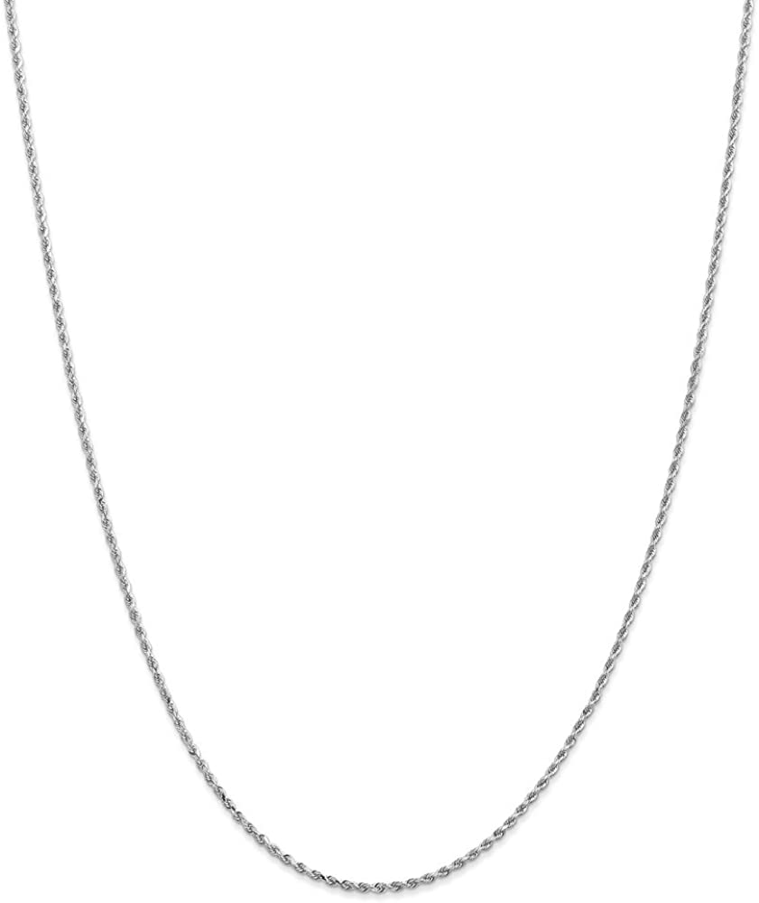 Black Bow Jewelry 1.75mm 10k White Gold Solid Diamond Cut Rope Chain Necklace