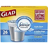 Glad Small Garbage Bags with Odor Shield, 4 Gallon 26 bags (Pack of 2)