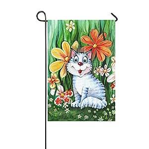 interestprint Spring Floral cute Gato Largo poliéster banderines de jardín 12X 18pulgadas, Funny Cat en la hierba decorativa bandera para aniversario de boda decoración de la casa jardín al aire libre