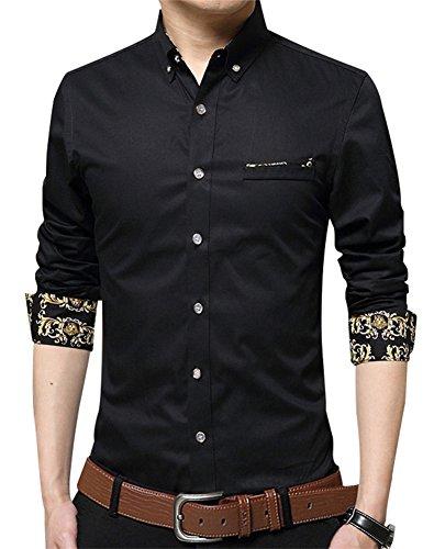 Pattern Mens Dress Shirt (XTAPAN Men's Long Sleeve Casual Slim Fit Button Down Dress Shirt Black Asian 3XL=US M 1730)
