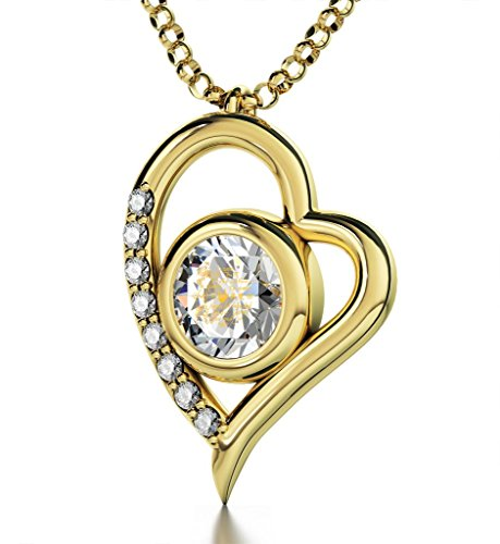 Gold Plated Heart Pendant Necklace I Love You 12 Languages 24k Gold Inscribed Clear Crystal, 18'' Chain by Nano Jewelry