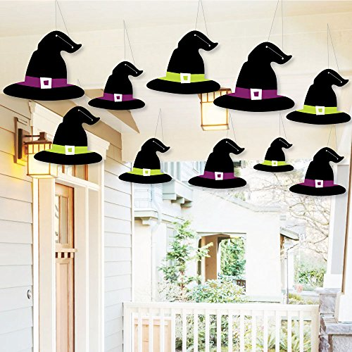 Hanging Witch Hats - Outdoor Halloween Hanging Porch & Tree Yard Decorations - 10 Pieces - Outdoor Ghost With Witch Hat