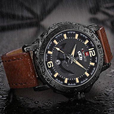 XKC-klockor herrklockor, herr armbandsur militärklocka armbandsur för vardagen japansk kvarts kalender kronograf stor urtavla äkta läder band lyx röd