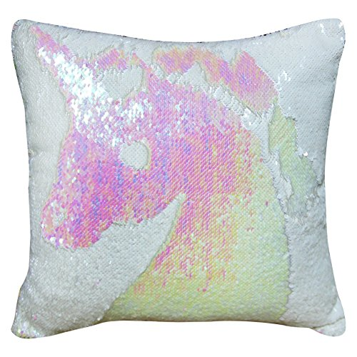 "Reversible Sequin Pillow Case Decorative Mermaid Pillow Cover Color Changing Cushion Throw Pillowcase 16"" x 16"" ,White and Fantasic White (Pillow White Sequin)"