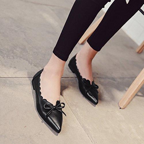 Giy Mocasín Con Punta Retro Para Mujer Mocasín Plano Con Cordones Comfort Bow Vestido Clásico Con Tirantes Negro