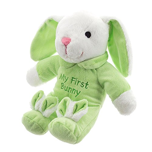 Plush Easter Bunny Small 11 inch green Musical Plays Rock a Bye Baby Easter Bunny Rabbit Green