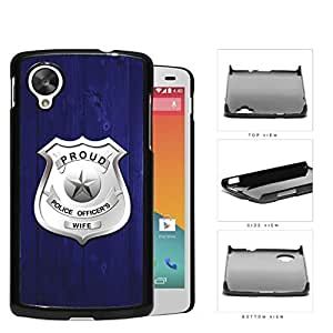 Proud Police Officer's Wife Blue Wood Hard Plastic Snap On Cell Phone Case LG Nexus 5