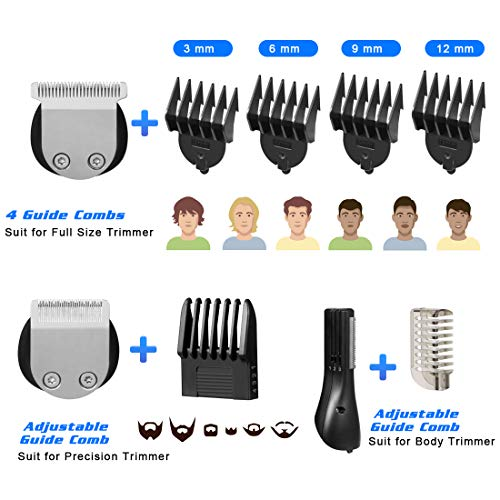 Adebena Beard Trimmer Hair Clippers for Men, Waterproof Cordless Hair Trimmer 10 in 1 Hair Clippers Mustache Trimmer Body Grooming Kit for Nose Ear Facial Hair, Rechargeable Precision Hair Cutting Kit