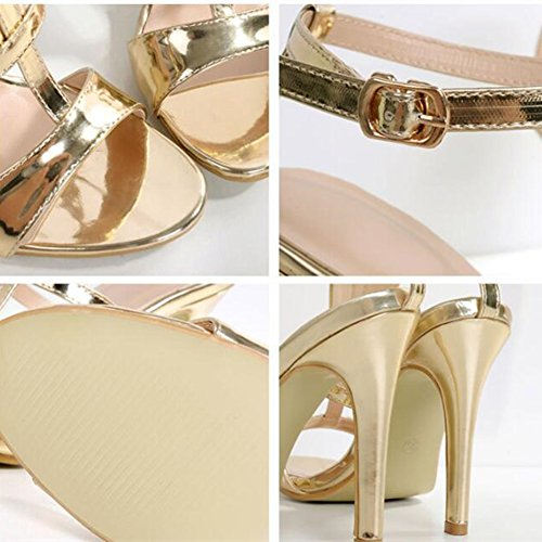 Leather Shoes Strap Dress Sandals Heels PU Gold Women Open Sandal Toe Ankle 6AwpTRq