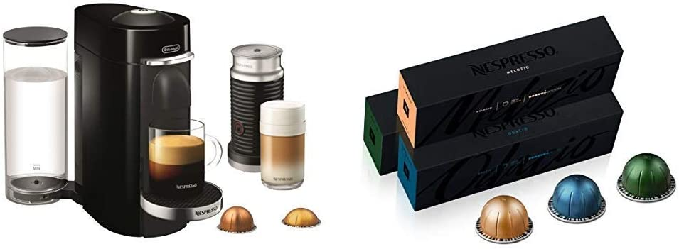 Nespresso VertuoPlus Deluxe Coffee and Espresso Maker Bundle with Aeroccino Milk Frother by De'Longhi, Black with Best Selling Vertuoline Coffees Included