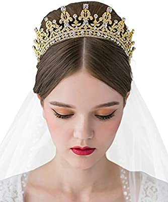 7f62d76d Amazon.com : SWEETV Royal Wedding Crown CZ Crystal Pageant Tiara ...