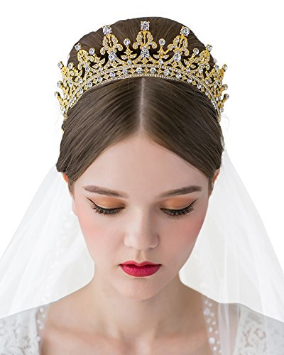SWEETV Princess Crown CZ Crystal Pageant Queen Tiara Bridal Wedding Headpiece Women Hair Jewelry, -