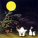 "Japanese 100% Cotton 19.75"" Otsukimi Moon Rabbit Furoshiki Fabric Wrapping Cloth"