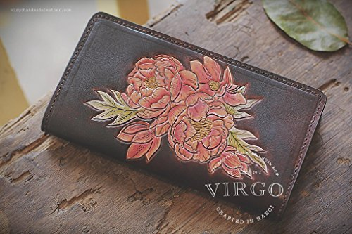 Sunflowers hand tooled long wallet for women | Personalized Vintage vegetable tanned leather handmade wallet by Virgo Handmade Leather