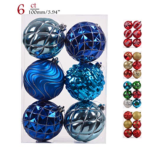 Teresas Collections 6ct 100mm Winter Land Silver and Blue Shatterproof Christmas Ball Ornaments Decoration for Christmas Tree