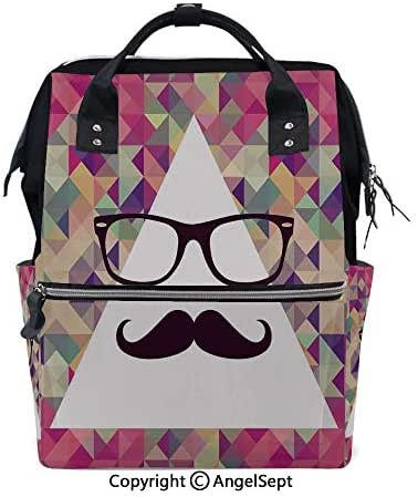 Hot Sale Backpack Nappy Bags,Hipster Mustache and Glasses White Triangle Mosaic Background Funny Art Print Multicolor,15.7 inches,Wide Shoulder Straps Water Resistant