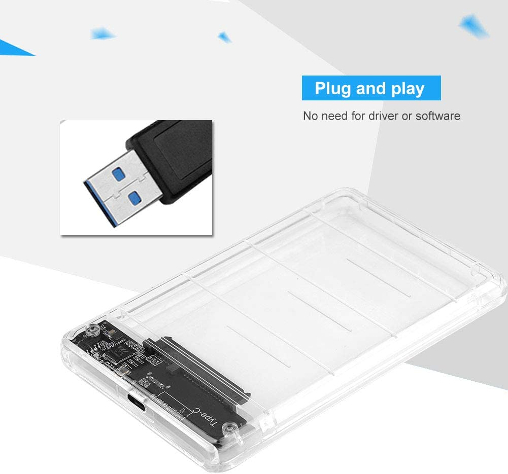 Bewinner Case Hard Drive,Type-C to 2.5inch SATA SSD External Enclosure USB 3.0 Hard Drive Case,Convenient to Copy and Transfer Data Anytime,Anywhere