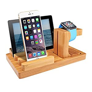 Tsouce Apple Watch stand,Wood Bamboo Charging Station,Charging Dock with 4 USB Ports for iPhone X / 8 / 7 / 6 / 5s and Smartphones