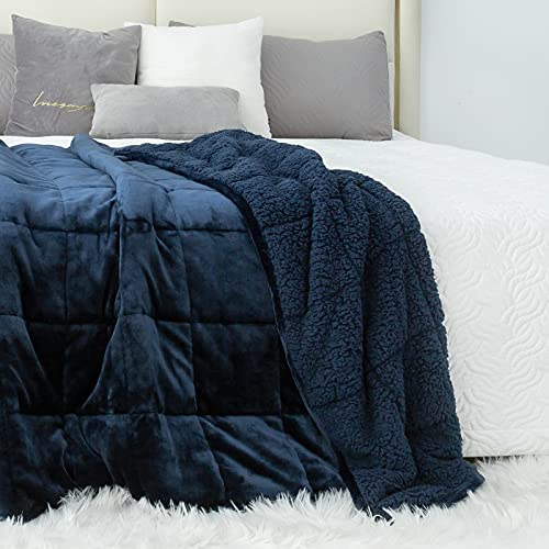 Kivik Sherpa Fleece Weighted Blanket 20 lbs for Adult,Queen/King Size Soft Plush Flannel Bed Blanket,Fluffy Cosy Heavy Blanket Warm Thick,Dual Side Navy Blue 60