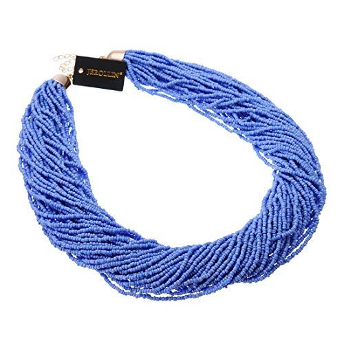 (Fashion Multilayer Seed Bead Chain Choker Collar Cluster Strand Handmade Bib Statement Necklace (Blue))