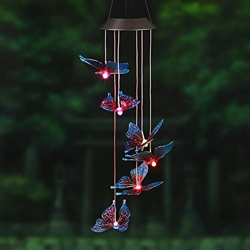 DSstyles Solar Wind Chime LED Colorful Butterfly Light, Waterproof Light for Corridors, Parks, and Hallways etc.