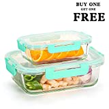 Glass Food Storage Containers (Buy 1 Get 1 Free) Meal Prep Containers (34oz+12oz) - Glass Lunch Containers Set with Lids, Airtight, Leakproof, BPA Free