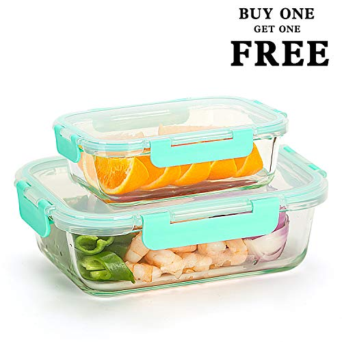 Glass Food Storage Containers (Buy 1 Get 1 Free) Meal Prep Containers (34oz+12oz) - Glass Lunch Containers Set with Lids, Airtight, Leakproof, BPA Free (Lunch Box Glass Container)