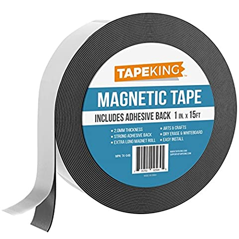 Tape King Flexible Magnetic Tape, 1-Inch x 15 Feet - Thicker and Stronger Adhesive Back Magnet Strip for White Board, Dry Erase, Automotive, Fridge - Black