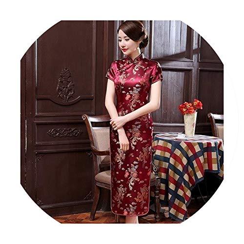 Plus Size Chinese Dresses Cheongsam Long Qipao Dress Sexy Split Tang Costume,Purple Red,S]()