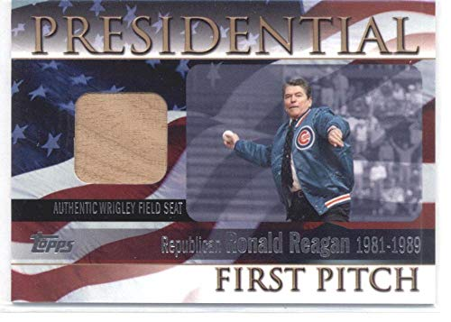 2004 Topps Presidential First Pitch Seat Relics #RR Ronald Reagan MLB Baseball Card (Memorabilia/Game Used) /100 NM-MT US President/Actor (Piece of Authentic Wrigley Field Seat)
