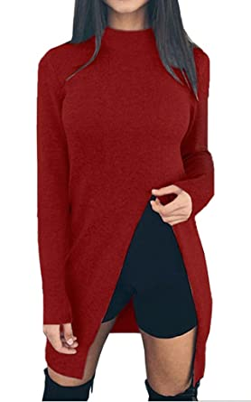 f4cfaef990797 Bigood Pull Long Femme Pull-Over Automne Hiver Sweat-Shirt Fendu Sweater Col  Rond