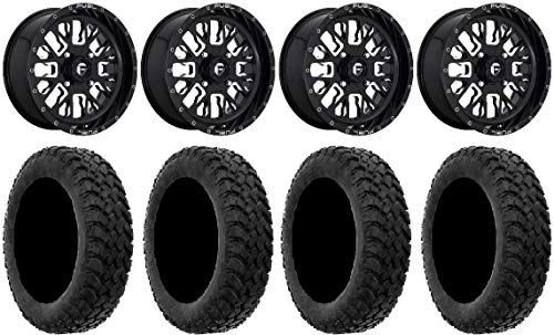 "Price comparison product image Bundle - 9 Items: Fuel Stroke Black 18"" Wheels 33"" MotoHammer Tires [4x137 Bolt Pattern 10mmx1.25 Lug Kit]"