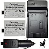 Two Halcyon 1800 mAH Lithium Ion Replacement Battery and Charger Kit for Canon EOS Rebel T1i 15.1 MP Digital SLR Camera and Canon LP-E5