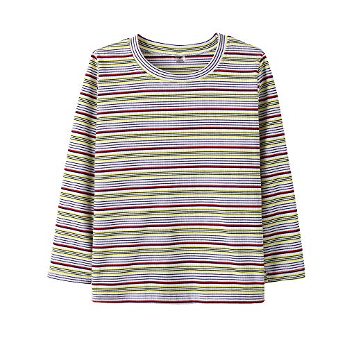 YUEXIN Girls Long Sleeve Jersey Top Stripe Cotton T Shirts Clothes 6-14 Years ()