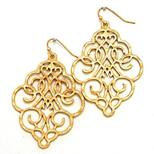 Women's Chic Gold Tone Floral Filigree Bohemian Boho Earrings Lightweight Cutout Big Dangles