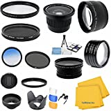 Accessory Kit for CANON PowerShot SX40 HS (SX30 SX20) IS - Includes: Lens Conversion Adapter + Professional .40x Super Wide Fisheye Lens + 0.43x Wide Angle Lens + 2x Telephoto Lens + Filter Kit (UV, CPL, ND) + Macro Close-Up Set + Blue Color Filter + Hard