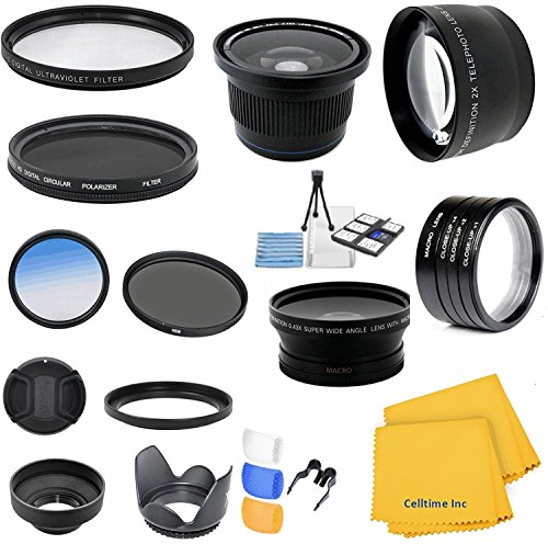 Accessory Kit for CANON PowerShot SX40 HS (SX30 SX20) IS - Includes: Lens Conversion Adapter + Professional .40x Super Wide Fisheye Lens + 0.43x Wide Angle Lens + 2x Telephoto Lens + Filter Kit (UV, CPL, ND) + Macro Close-Up Set + Blue Color Filter + Hard by Celltime Inc.