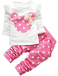 Cute Toddler Baby Girls Clothes Set Long Sleeve T-Shirt...