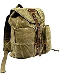 Rothco Leather Stone Washed Canvas Backpack, Olive Drab