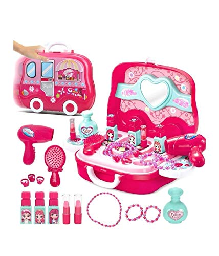 vikas gift gallery beauty make up case and cosmetic set suitcase with makeup accessories for children girls- Pink…