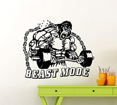 Gym Beast Mode Wall Decal Motivational Quote Fitness Vinyl Sticker Home Sport Motivation Gym Poster Interior Art Decor Quote Inspirational Words Lettering CrossFit Workout Removable Mural 130gy