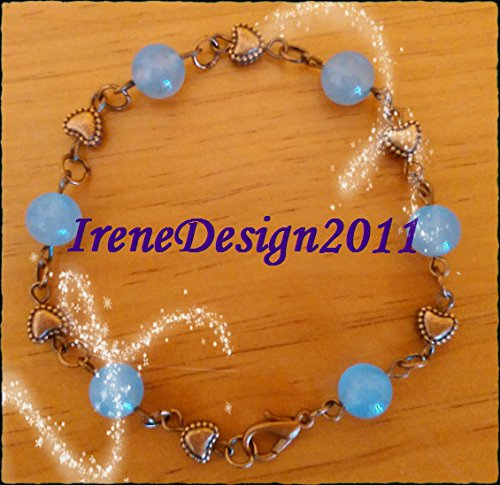 Aquamarine & Heart Bracelet