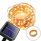 HILLPOW Solar Outdoor LED String Lights Flexible Copper Wire Fairy Lighting ,8 Modes 33ft 100 LED for Indoor and Outdoor,Halloween,Christmas,Garden,Patio,Wedding,Holiday Decorations (warm white)