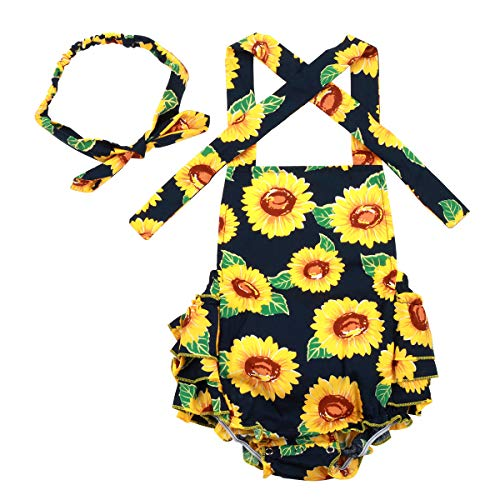 Slowera Baby Girls 2pcs Sets Cotton Ruffles Romper Outfits Clothes (L: 24 Months, Sunflower)