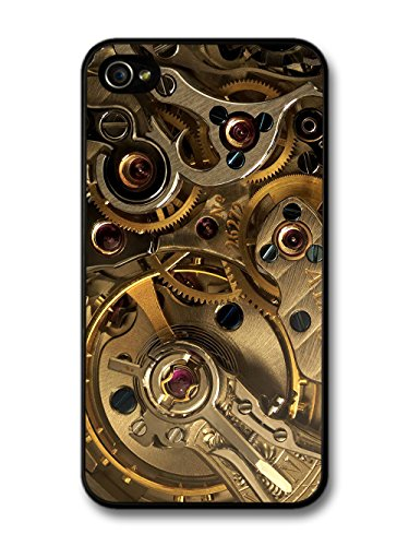 Steampunk Clockwork Cogs Pattern Black and Gold coque pour iPhone 4 4S