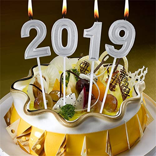 Euone Numeral Candles, 4pcs Number 2019 Birthday Numeral Candles Number Cake Decor for Adults/Kids Party ()