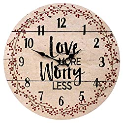 Love More Worry Less Round Wood Style Wall Clock - Farmhouse Rustic Home Decor - 13 Inches Diameter